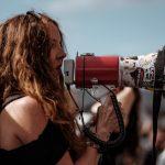 social justice warrior woman protesting